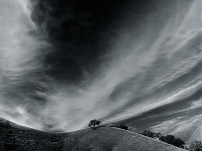 black and white art wallpaper. lack and white hill and sky