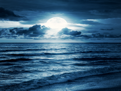 sea coast, full moon,