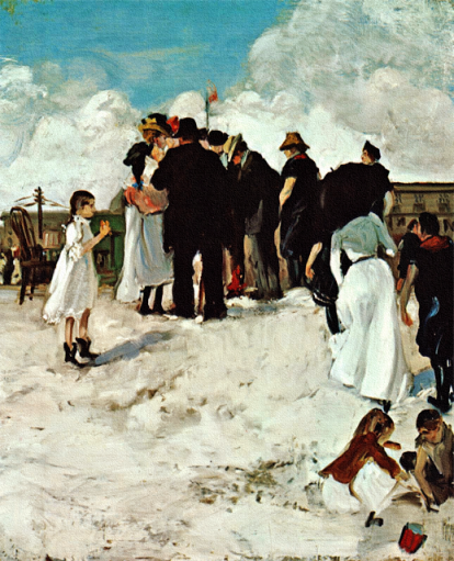 at the shore by a.h. maurer, 1901. oil on cardboard.