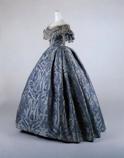 Ball gown late 1850 blue and white silk damask