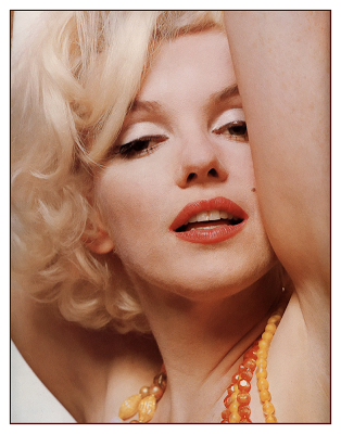 Marilyn Monroe with orange beads