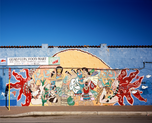 A mural on the side of a grocery store located on the West side of San Antonio, Texas.