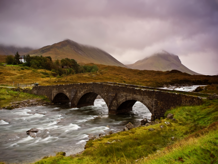 scottish river bridge wallpaper