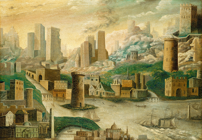 A City of Fantasy  American 19th Century, oil on canvas.