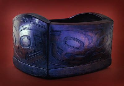 Bent cornered wood box in shallow relief either Tlingit or Haida about 1850