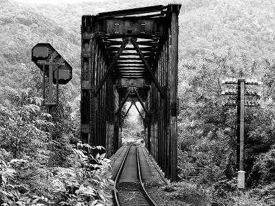 black and white train trestle wallpaper