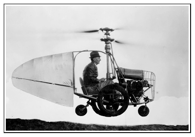 Jess Dixon in his flying automobile.