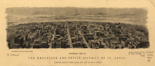 Panoramic view of the wholesale and office district of St. Louis.