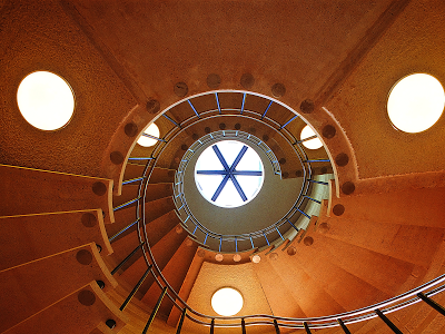 spiral staircase wallpaper, earth tones, architecture