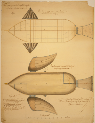 Scaled design drawing shows a system for navigating an airship